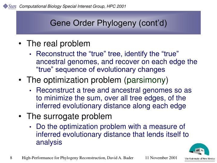 Gene Order Phylogeny (cont'd)