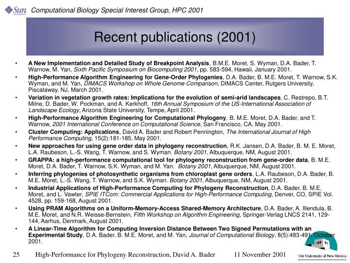 Recent publications (2001)