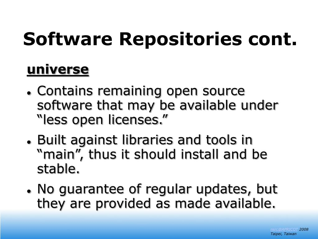Software Repositories cont.
