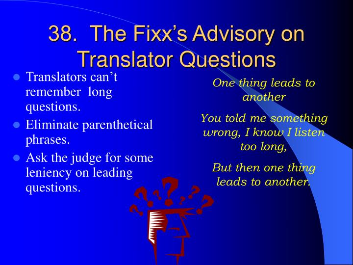 38.  The Fixx's Advisory on Translator Questions