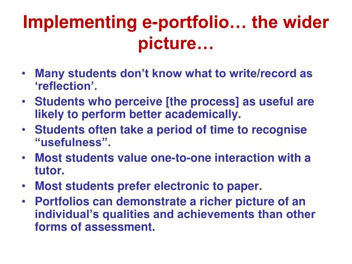 Implementing e-portfolio… the wider picture…