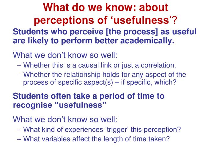 What do we know: about perceptions of 'usefulness