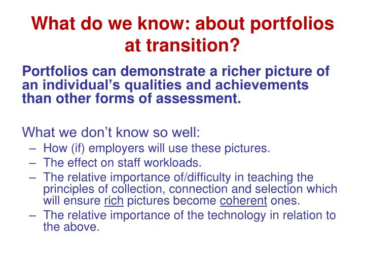 What do we know: about portfolios at transition?