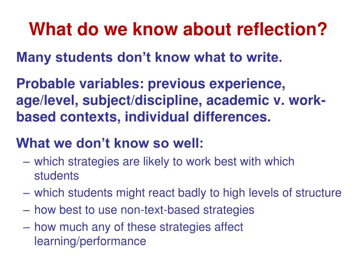 What do we know about reflection?
