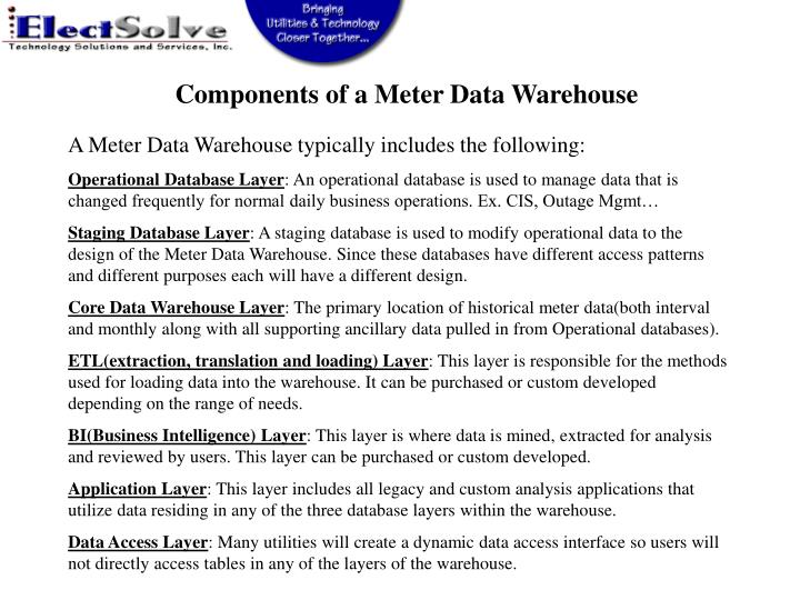 Components of a Meter Data Warehouse