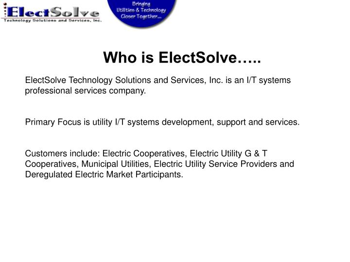 Who is ElectSolve…..