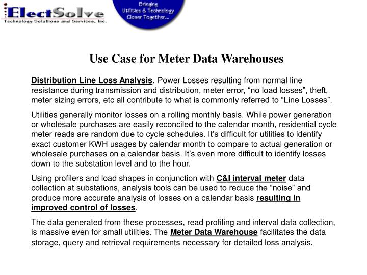Use Case for Meter Data Warehouses