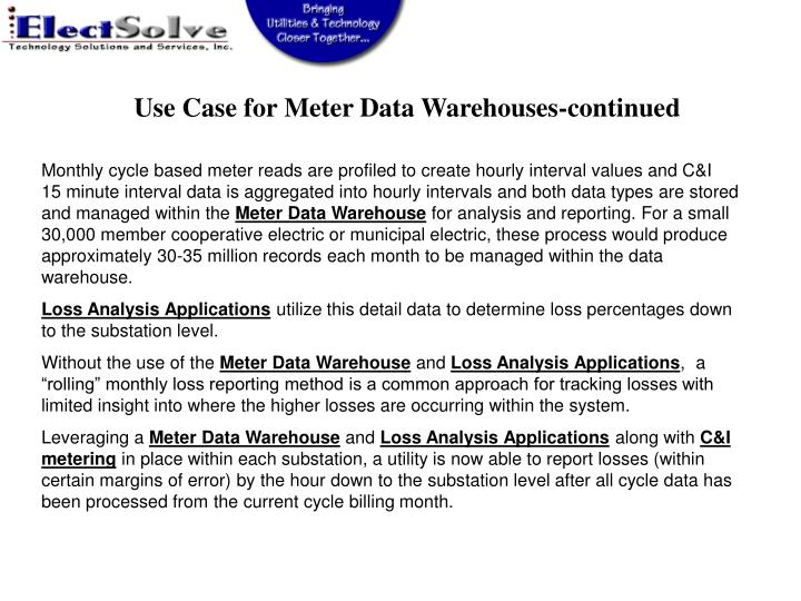 Use Case for Meter Data Warehouses-continued