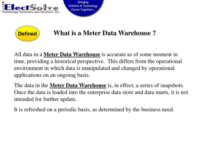 What is a Meter Data Warehouse ?
