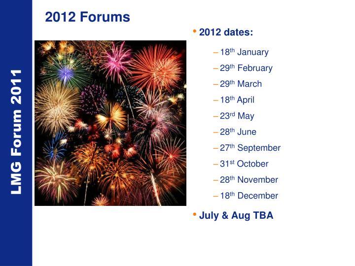 2012 Forums