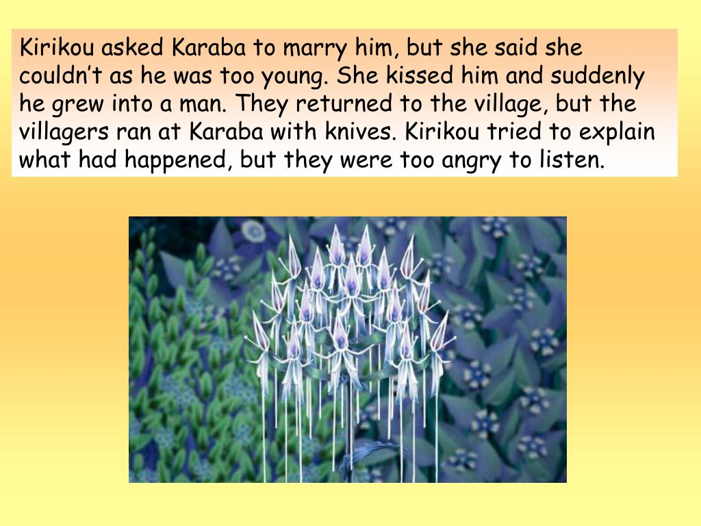 Kirikou asked Karaba to marry him, but she said she couldn't as he was too young. She kissed him and suddenly he grew into a man. They returned to the village, but the villagers ran at Karaba with knives. Kirikou tried to explain what had happened, but they were too angry to listen.
