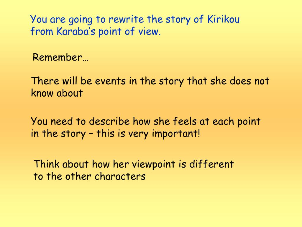 You are going to rewrite the story of Kirikou from Karaba's point of view.