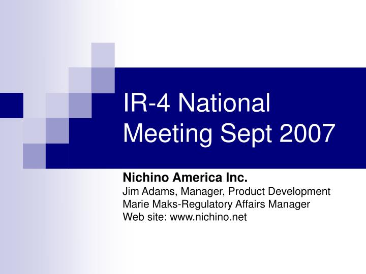 Ir 4 national meeting sept 2007