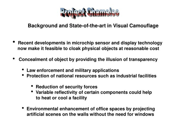 Background and State-of-the-art in Visual Camouflage