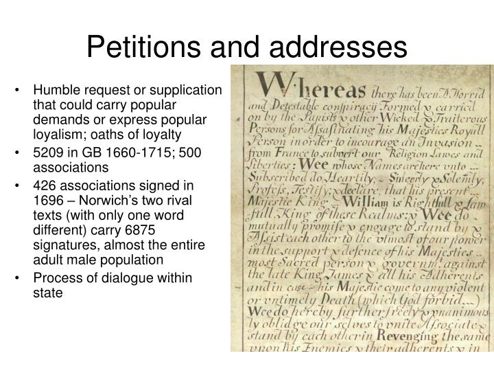 Petitions and addresses