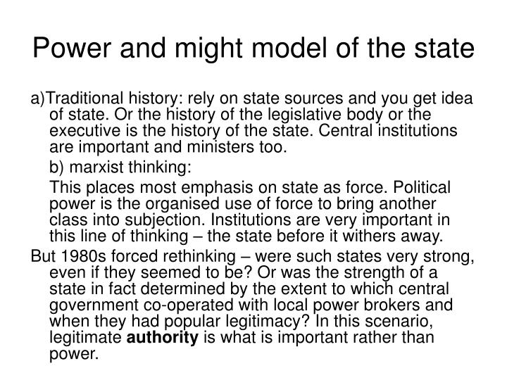 Power and might model of the state
