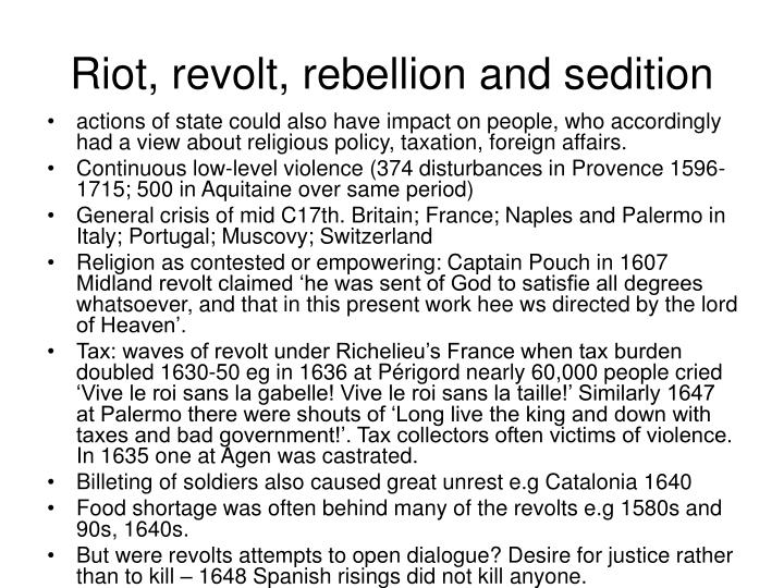 Riot, revolt, rebellion and sedition