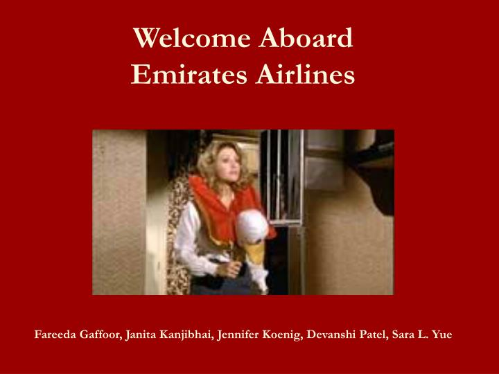 Welcome Aboard Emirates Airlines