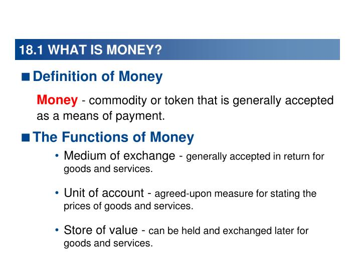18.1 WHAT IS MONEY?