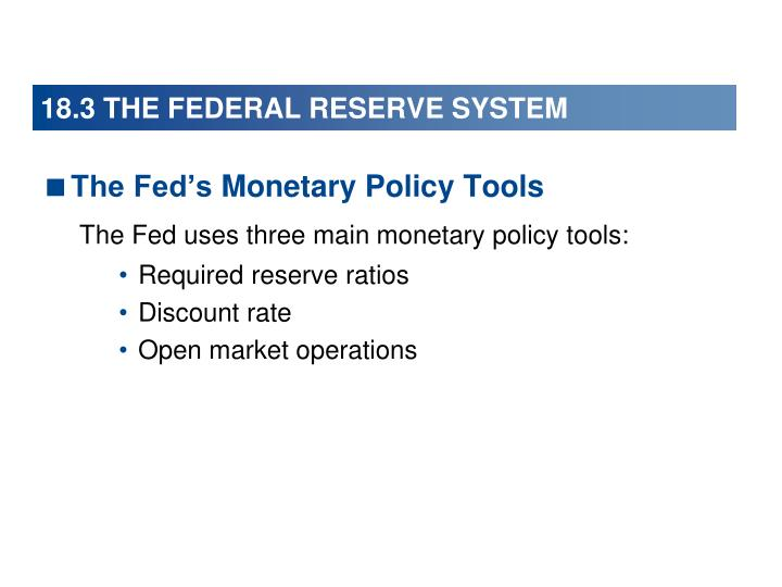 18.3 THE FEDERAL RESERVE SYSTEM