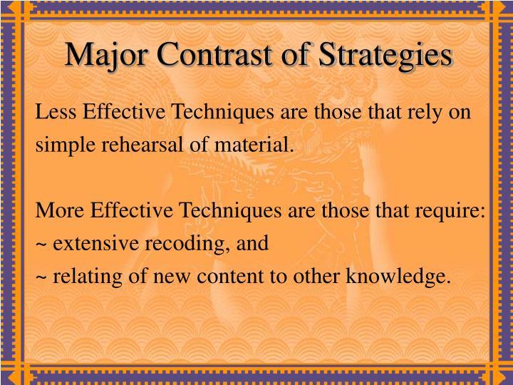 Major Contrast of Strategies