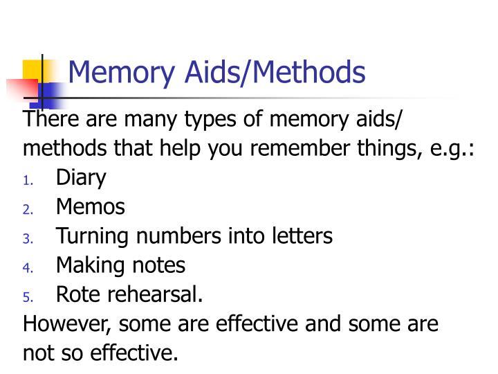 Memory Aids/Methods