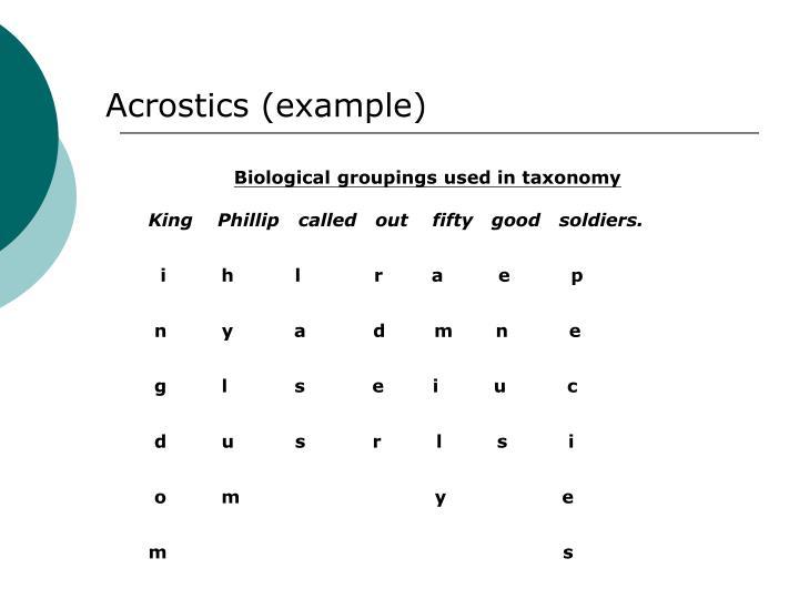 Acrostics (example)