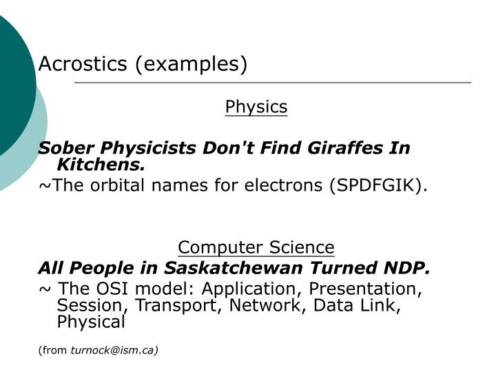 Acrostics (examples)