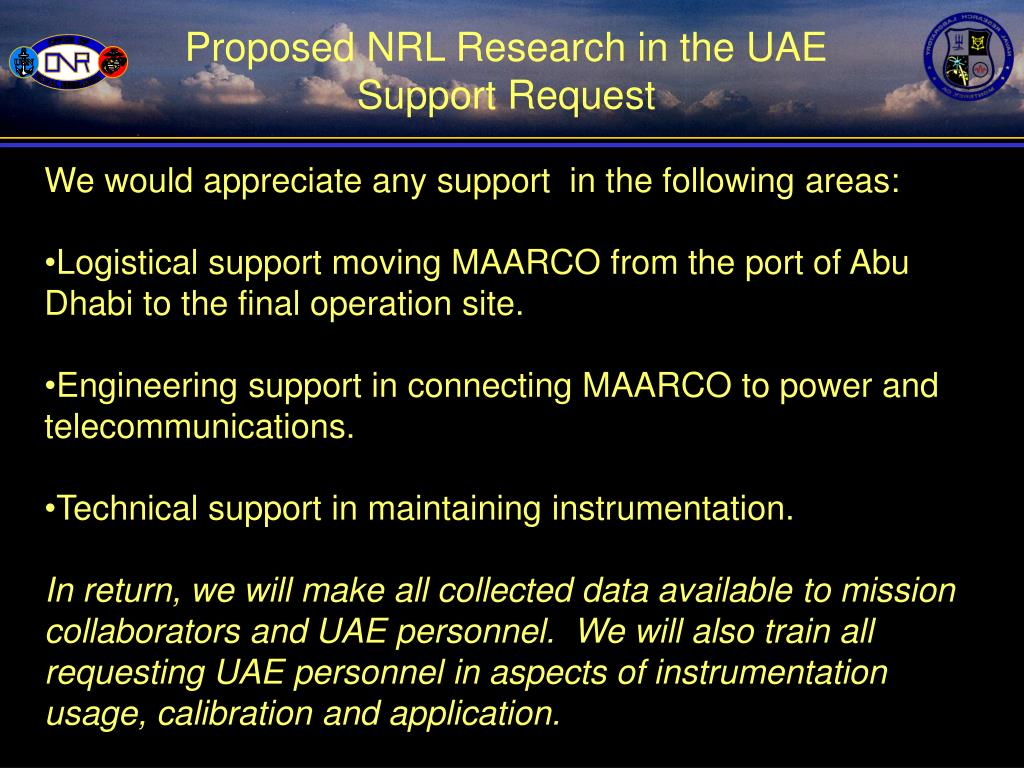 Proposed NRL Research in the UAE