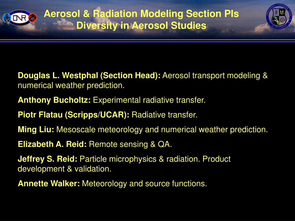 Aerosol & Radiation Modeling Section PIs