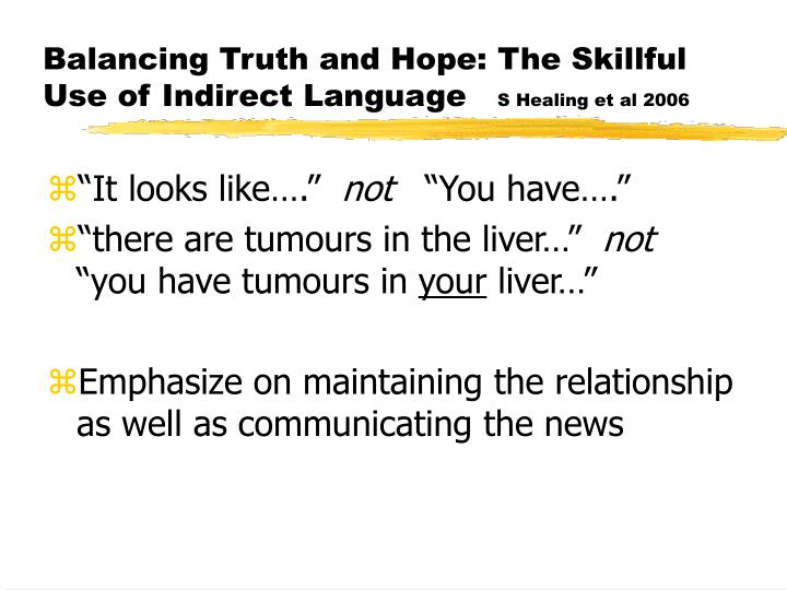 Balancing Truth and Hope: The Skillful Use of Indirect Language