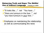 balancing truth and hope the skillful use of indirect language s healing et al 2006