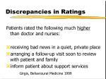 discrepancies in ratings