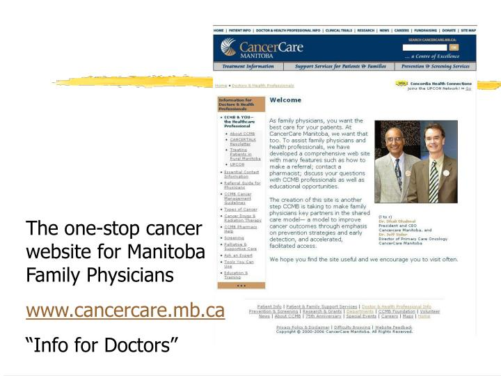 The one-stop cancer website for Manitoba Family Physicians