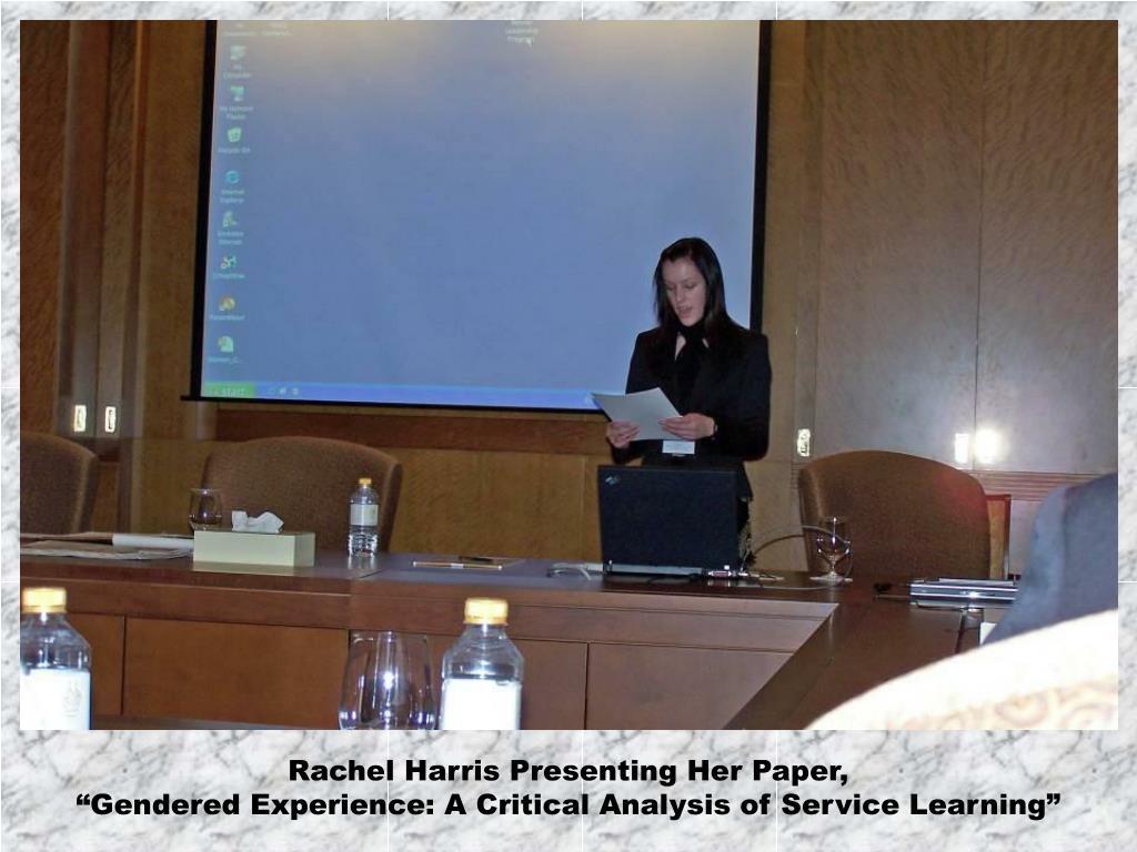 Rachel Harris Presenting Her Paper,