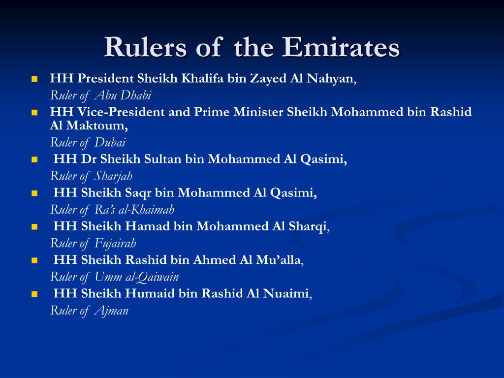 Rulers of the Emirates