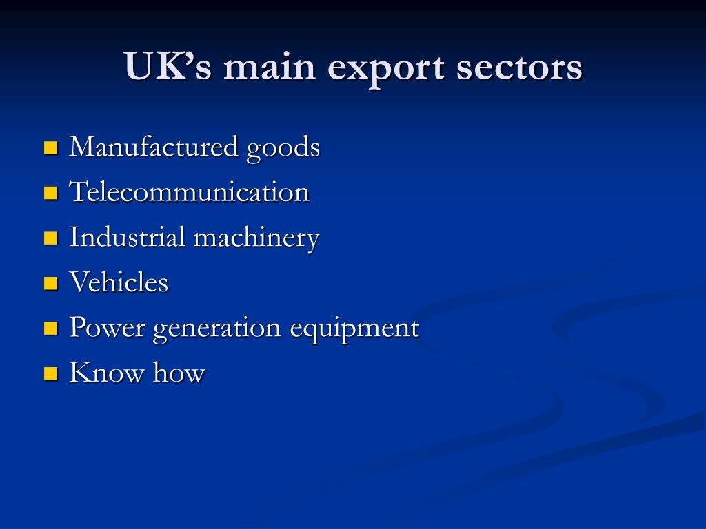 UK's main export sectors
