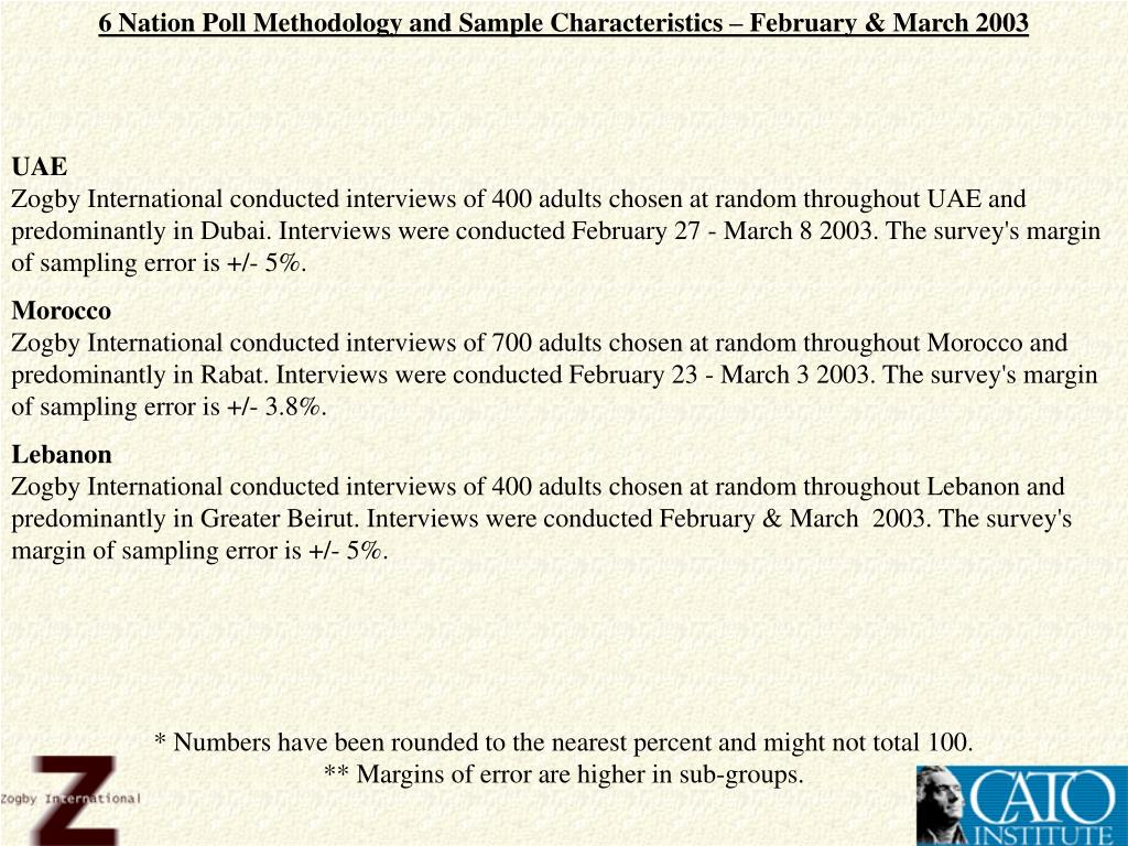 6 Nation Poll Methodology and Sample Characteristics – February & March 2003