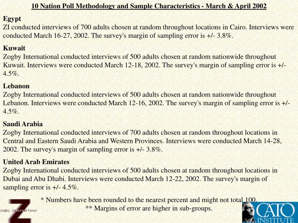 10 Nation Poll Methodology and Sample Characteristics - March & April 2002