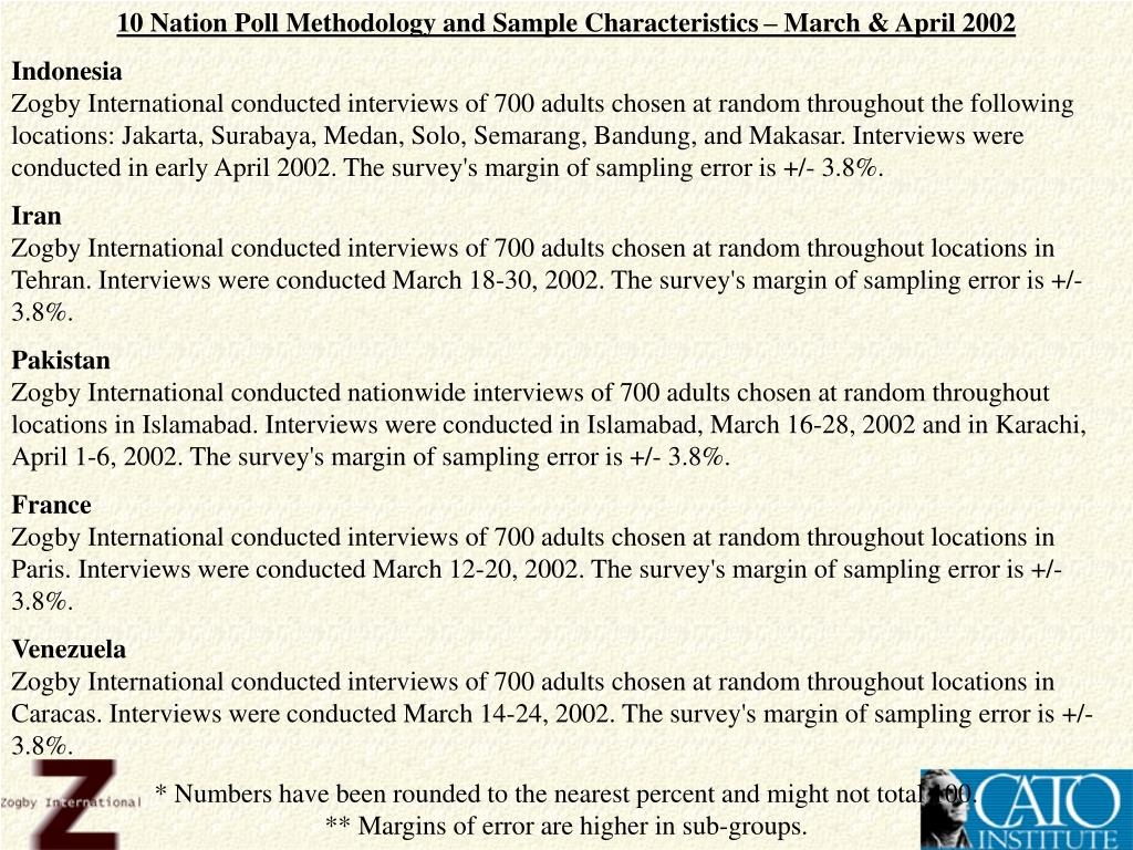 10 Nation Poll Methodology and Sample Characteristics – March & April 2002