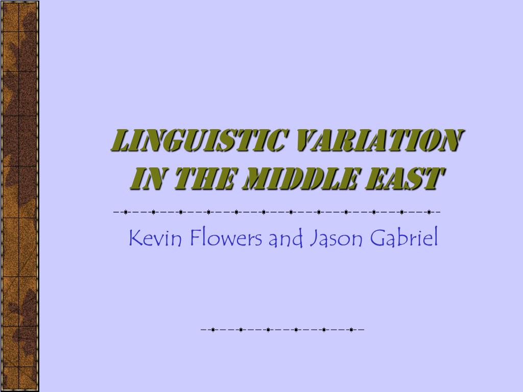 Linguistic Variation in the Middle East