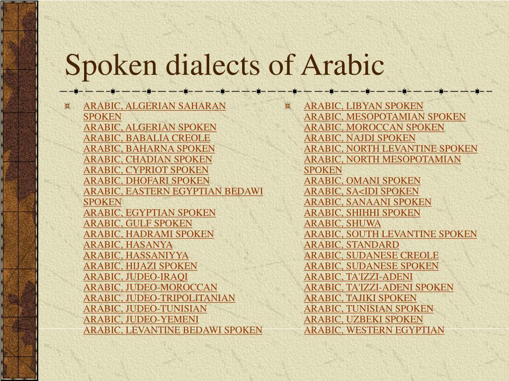 ARABIC, ALGERIAN SAHARAN SPOKEN