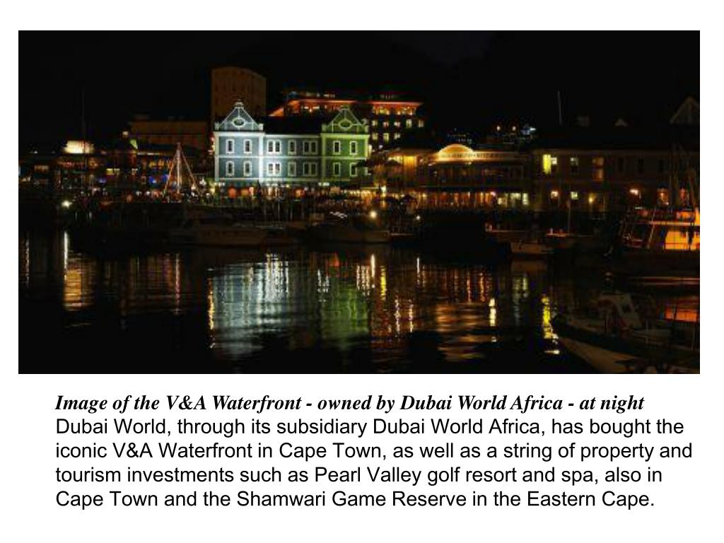 Image of the V&A Waterfront - owned by Dubai World Africa - at night