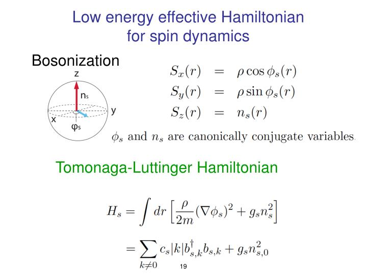 Low energy effective Hamiltonian