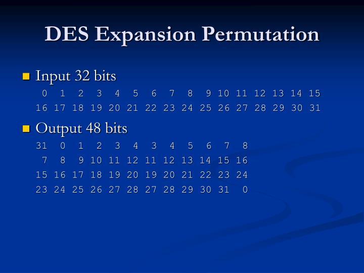 DES Expansion Permutation