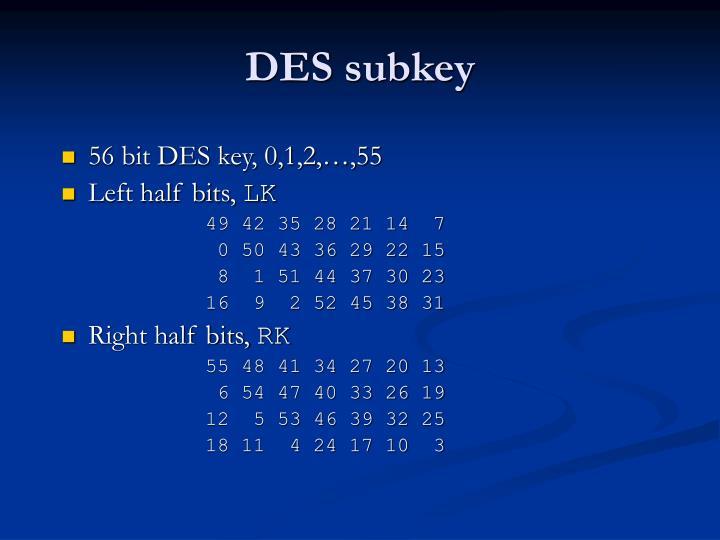 DES subkey