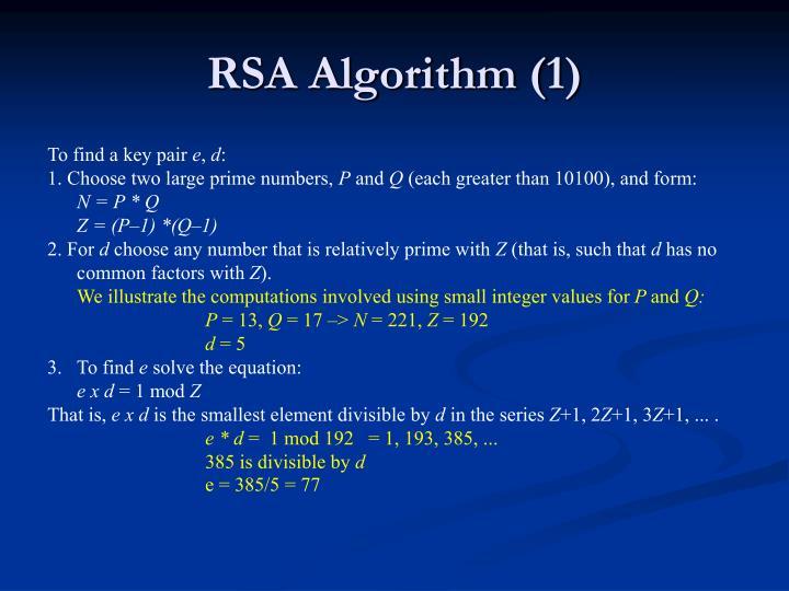 RSA Algorithm (1)
