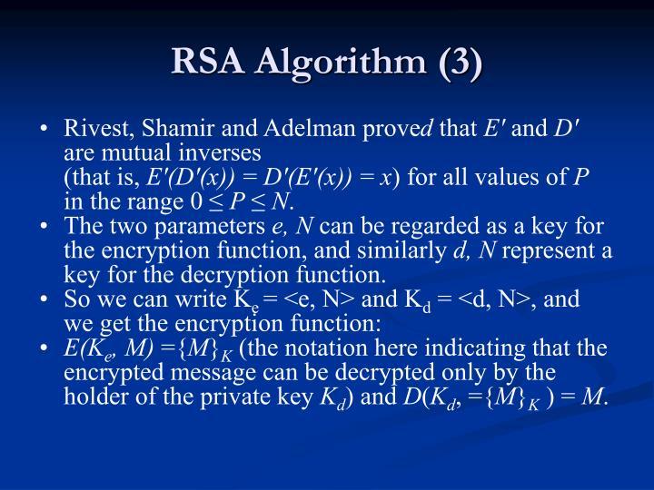 RSA Algorithm (3)