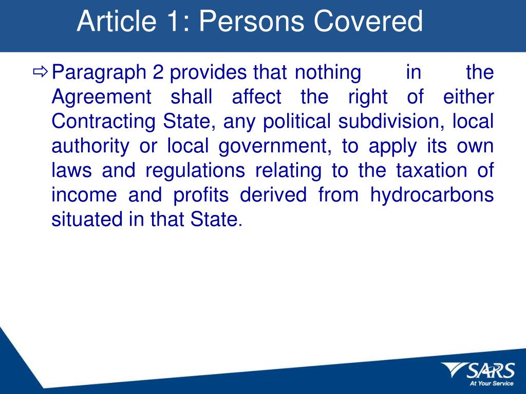 Article 1: Persons Covered