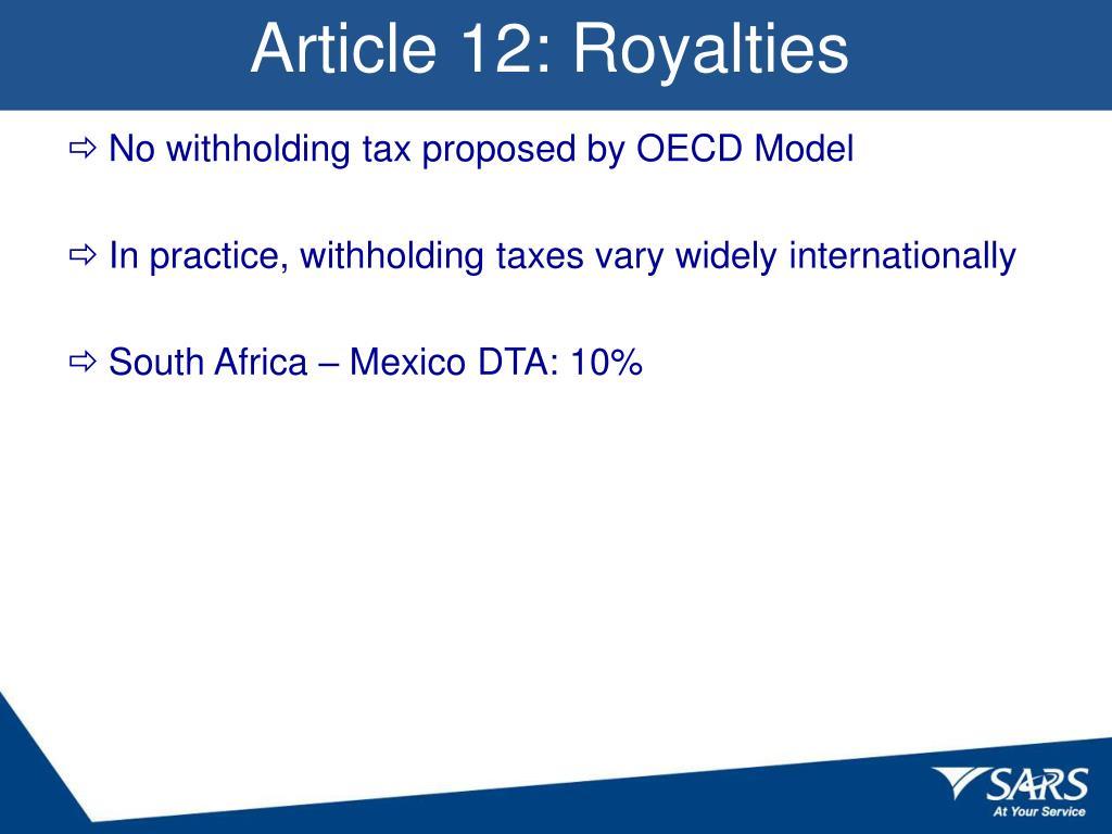 Article 12: Royalties